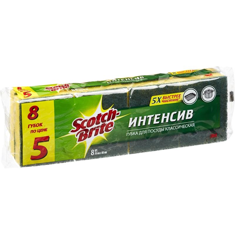 Губки для мытья посуды 3M Scotch-Brite Интенсив поролоновые 70x90 мм 8 штук в упаковке